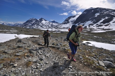 Trekkers hiking through Norway's Jotunheimen National Park.