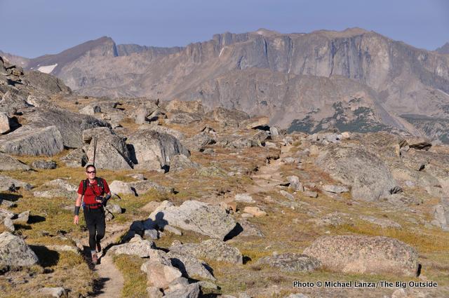 A hiker on the Bears Ears Trail, Wind River Range.