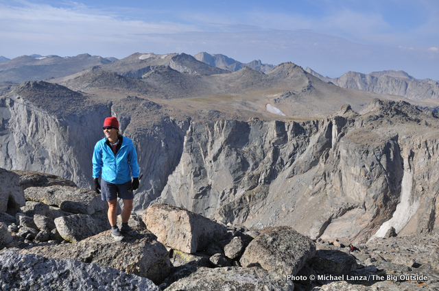 A hiker on 12,250-ft. Mount Chauvenet in the Wind River Range.