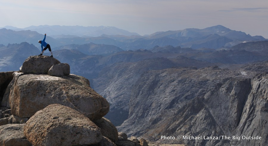 A hiker atop Mount Chauvenet, Wind River Range, Wyoming.