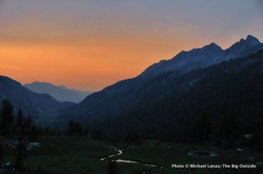 Sunset from camp above Lakes Basin