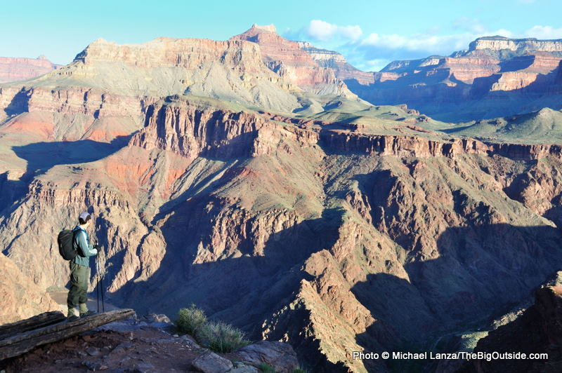 A hiker on a 42-mile, rim-to-rim-to-rim dayhike in the Grand Canyon.