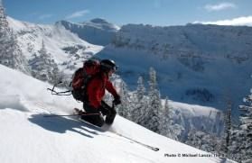 Skiing Zimbabwe ridge east of Baldy Knoll.