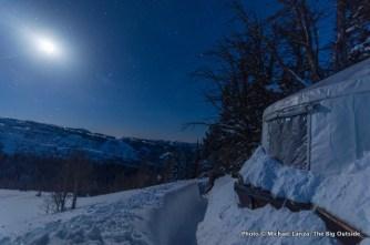 Moonlit night outside the Baldy Knoll yurt.