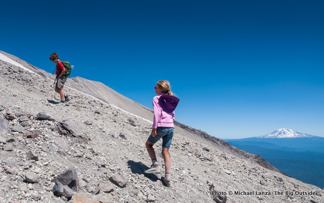 Young boy and girl hiking Monitor Ridge up Mount St. Helens.