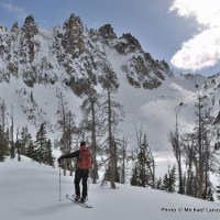 Skiing below Mount Heyburn, Sawtooth Mountains, Idaho.