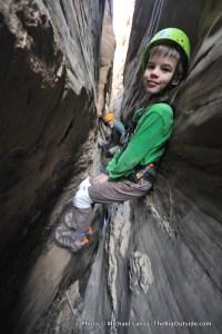 Descending a slot canyon, Capitol Reef.