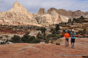 Two young girls hiking in Capitol Reef National Park.
