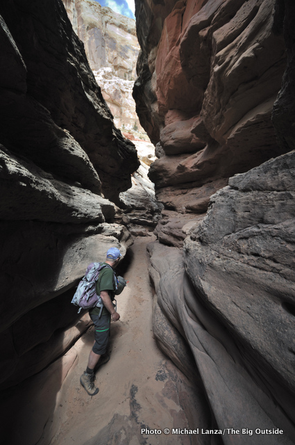 Steve Howe in unnamed canyon behind Chimney Rock (not on Beehive Traverse), Capitol Reef.