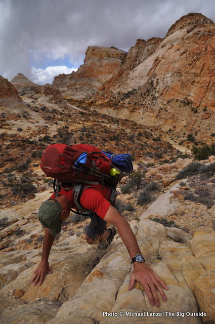 First day on the Beehive Traverse, Capitol Reef.