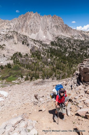 Hiking to the Big Boulder Lakes, White Cloud Mountains.