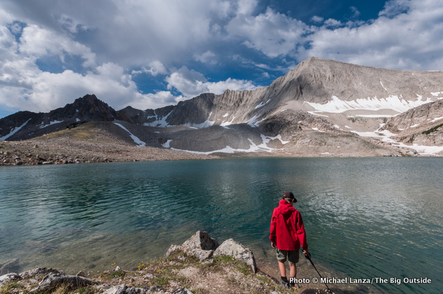 A teenage backpacker at Cirque Lake in the Big Boulder Lakes of Idaho's White Cloud Mountains.