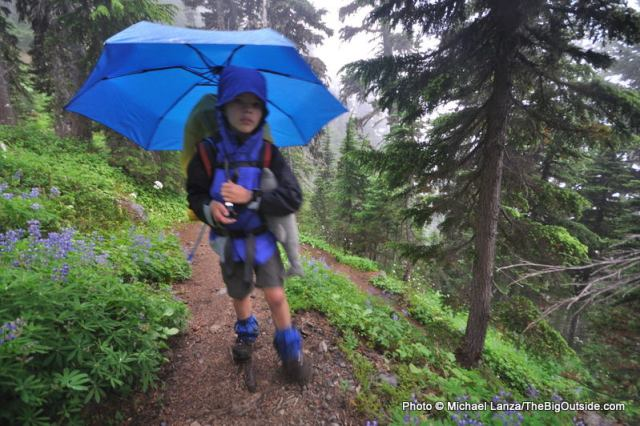 Backpacking in the rain on the Wonderland Trail in Mount Rainier National Park.