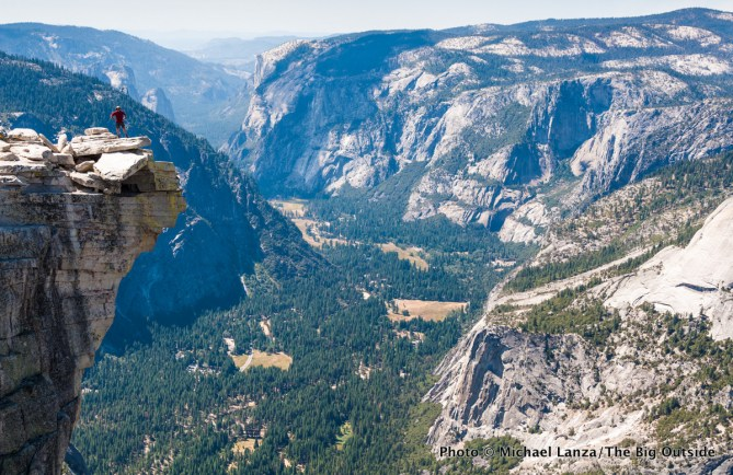 "The ""diving board,"" summit of Half Dome, Yosemite National Park."