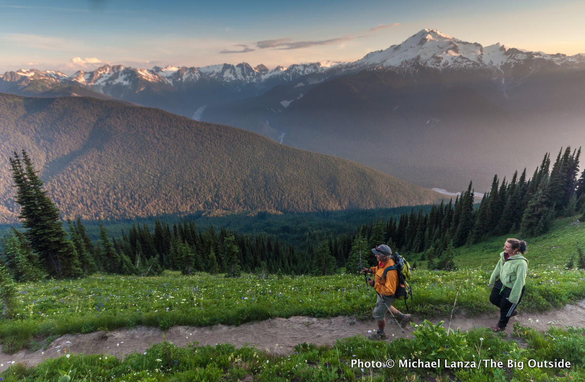Backpackers on Trail 785 to Image Lake in Washington's Glacier Peak Wilderness.