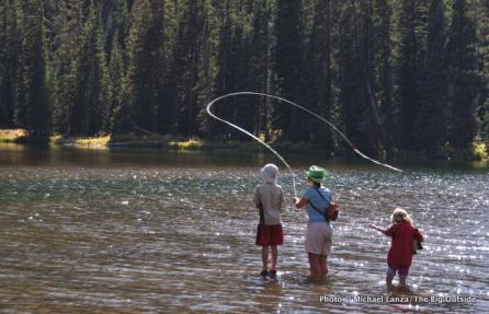 Fishing in Ouzel Lake, Rocky Mountain National Park.