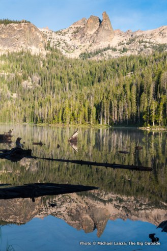 The Finger of Fate reflected in Hell Roaring Lake.