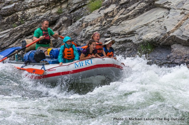 "The ""kids raft"" running Cliffside Rapid on Idaho's Middle Fork Salmon River."