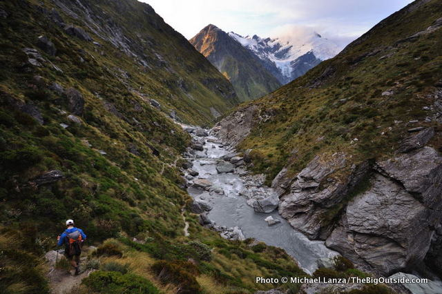 Hiking toward the Dart Hut on the Rees-Dart Track in Mount Aspiring National Park, New Zealand.