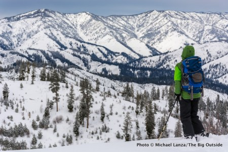 Backcountry skiing near Banner Ridge yurt, Boise National Forest, Idaho.
