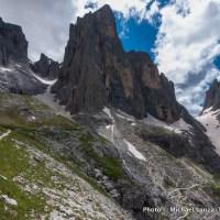 Trekking the Alta Via 2 in Parco Naturale Paneveggio Pale di San Martino, Dolomite Mountains, Italy.