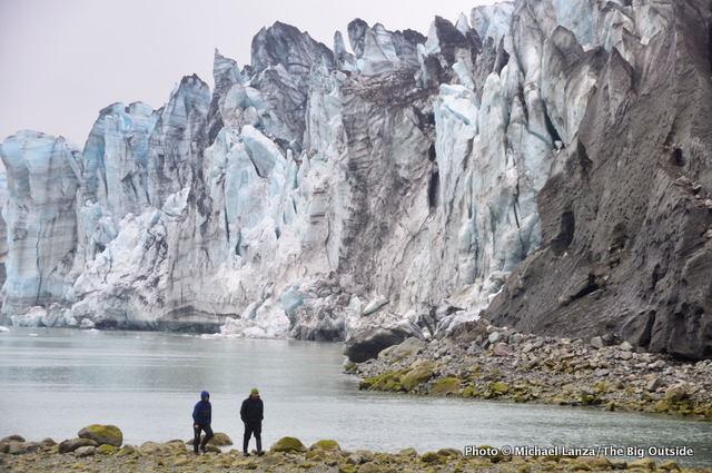 Kayakers visiting the Lamplugh Glacier, Glacier Bay National Park.