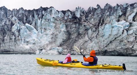 Kayaking past the Lamplugh Glacier, Glacier Bay National Park.