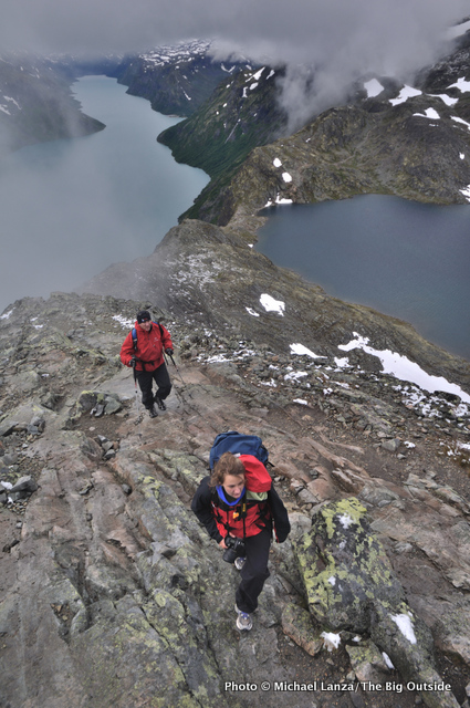 Trekkers on Besseggen Ridge in Norway's Jotunheimen National Park.