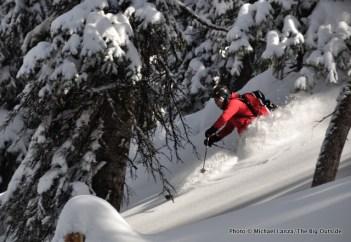 Skiing the trees north of Baldy Knoll, Teton Range.
