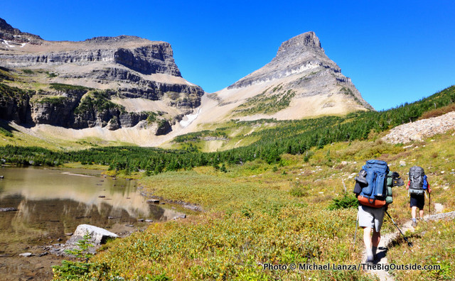 Backpackers climbing toward Stoney Indian Pass in Glacier National Park.