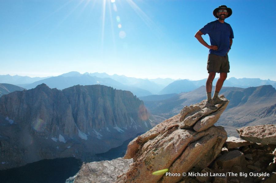 A hiker at Trail Crest on the John Muir Trail on Mount Whitney in Sequoia National Park.