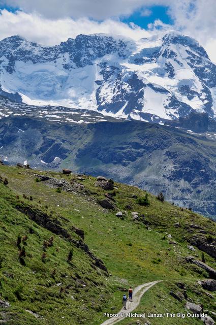 Trekkers descending into Zermatt on the Europaweg, or Europa Trail.