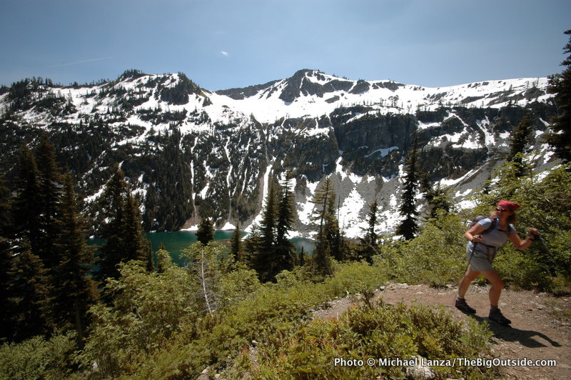 A hiker on the Maple Pass-Heather Pass Loop in North Cascades National Park.