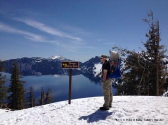 Mark Hodges with Mason at Crater Lake, Oregon.