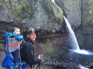 Mark Hodges with Mason at Ponytail Falls in the Columbia Gorge, Oregon.