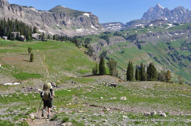 Backpacker on the Teton Crest Trail, Grand Teton National Park.
