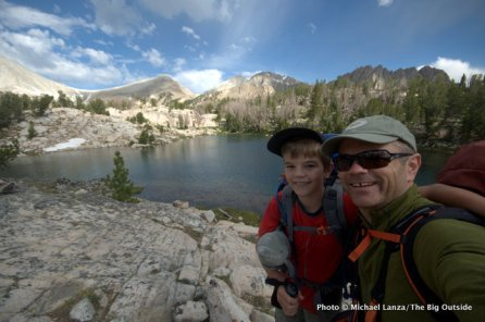 Father and son backpacking in the Big Boulder Lakes of Idaho's White Cloud Mountains.