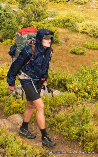 Backpacking in rain in Wyoming's Wind River Range.