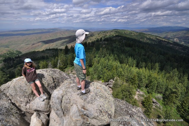 My kids atop Stack Rock in the Boise Foothills, Idaho.