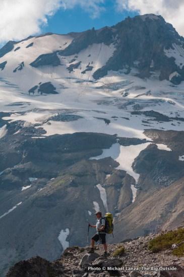 Jeff Wilhelm on Gnarl Ridge, along the Timberline Trail, Mount Hood, Oregon.
