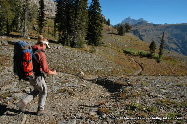 Backpacking the Teton Crest Trail on Death Canyon Shelf, Grand Teton National Park.
