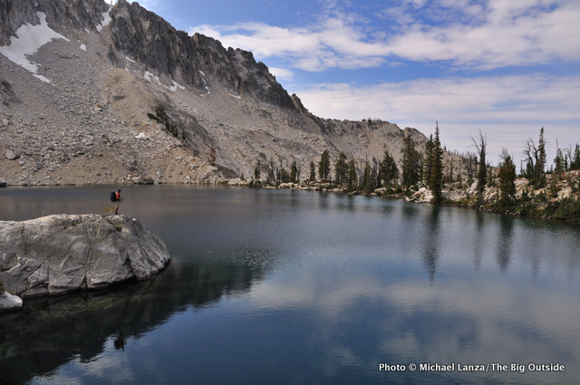 Jeff Wilhelm backpacking at Arrowhead Lake, Sawtooth Mountains, Idaho.