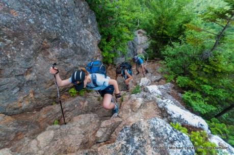 Skye hiking the Wildcat Ridge Trail, White Mountains, N.H.