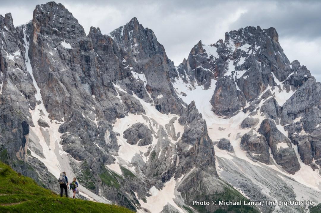 A family trekking hut-to-hut on the Alta Via 2 through Italy's Dolomite Mountains.
