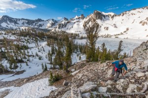 A hiker nearing the Alice-Toxaway Divide in Idaho's Sawtooth Mountains.
