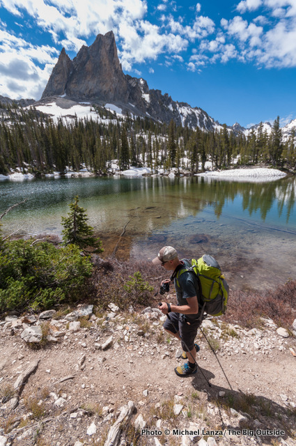 Chip Roser backpacking Trail 95 below El Capitan, Sawtooth Wilderness, Idaho.