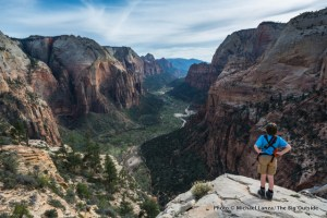 Nate hiking Angels Landing above Zion Canyon.