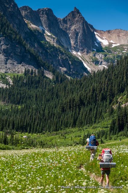 My kids backpacking through Spider Meadow, Glacier Peak Wilderness, Washington.