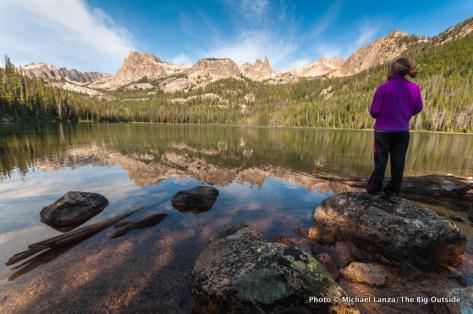 Alex at Hell Roaring Lake, Sawtooth Mountains, Idaho.