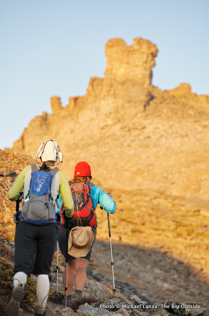Two hikers on the Bears Ears Trail, Wind River Range.